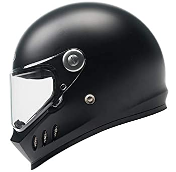 Motorcycle Full Face Helmet DOT and ECE Approved - YEMA YM-833 Motorbike Moped Street Bike Racing Crash Helmet with Clear Visor for Adult Men and Women - Matte Black L