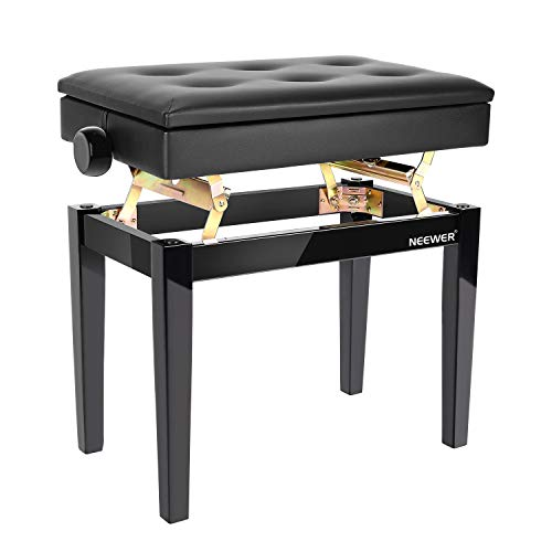 Neewer Adjustable Wooden Piano Bench Stool with Sheet Music Storage Black Solo Seat PU Leather Cushion, Solid Hard Wood Construction DX16