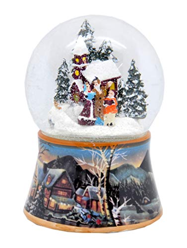 Minium Collection 20092 Nostalgie-Schneekugel Romantischer Winterspaziergang Spieluhr We Wish You a Merry Christmas 10cm Durchmesser