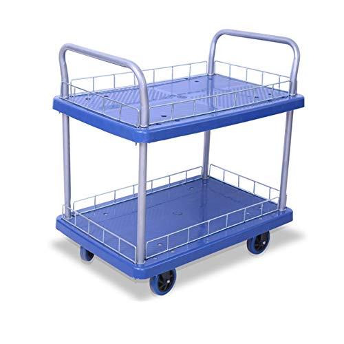 Platform Cart Dubbele laag Multi-layer Mute Flat Trolley Trolley Pull Goederen 4-wiel Push Truck Kleine Winkelwagen Magazijn Handling Mute Met Hek Blauw Voor Persoonlijk Reizen Winkelen En Kantoorgebruik Duty