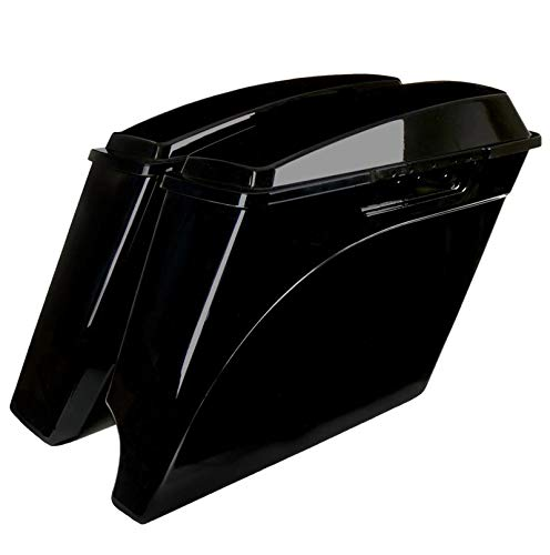 "NastyHog 4"" STRETCHED SADDLEBAGS FOR HARLEY DAVIDSON (1993-2013), 2-into-1 Exhaust"