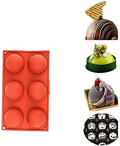 6 Half Rebound Circle Round Medium Holes Silicone Mold For Chocolate, Cake,Desserts,Baking DIY,BPA Free Cupcake Baking Pan kitchen Bakeware (e)