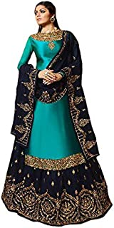 Women's Satin Georgette Semi Stitched Fabric Embroidered and Diamond Work Sharara Suit (LNF351, Rama, 46)