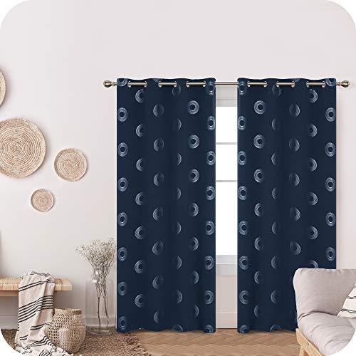 Amazon Brand – Umi Cortinas Opacas Decorativas con Motivos Roquillos con Ojales 2 Piezas 140x260cm Azul Marino