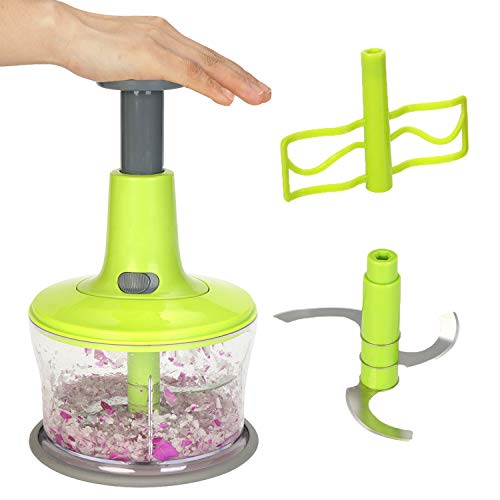 Smile Mom Food Chopper Manual, Vegetable Chopper Food Veggie Chopper Dicer Hand Quick Easy for Potato Salads Fruits Nuts Garlic Onions Meat Cutter Multifunctional