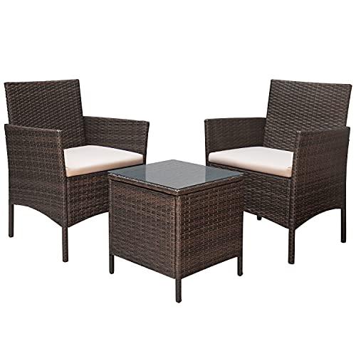 Devoko 3 PCS Rattan Garden Furniture Set 2 Seater Patio Rattan Chair with Waterproof Table Outdoor Conversation Bistro Set(Brown)