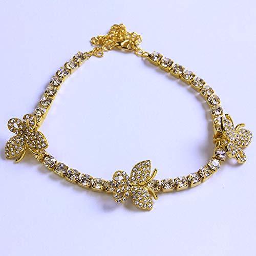 WWWL Tobillera de Mujer Pulsera de Tobillo de Tenis Rhinestone Cadena Mariposa Pulsera Encanto Tobillos para Las Mujeres Ajustable Bling Gold-Color