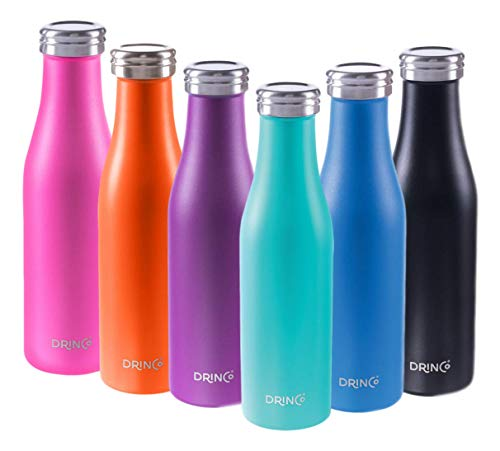 Drinco Stainless Steel Water Bottle insulated water bottle | Slim | Double Wall | Wide Mouth | Triple Insulated | Powder Coated Durability |18/8 Grade | 17oz (Aqua, 17oz Slim)