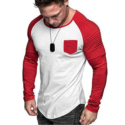 Mens Shirts Long Sleeve Casual O Neck Colorblock Pleated Raglan Muscle T-Shirt Tops Blouse Pullover Jumper Sweatshirts Red