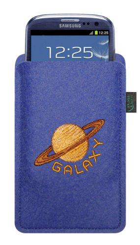 KringsFashion Filztasche für samsung galaxy S4 + S3, blau, Stickerei Motiv Saturn/Galaxie, Tasche hochwertig bestickt; 100% Wollfilz, passend auch für andere Geräte siehe Produktbeschreibung