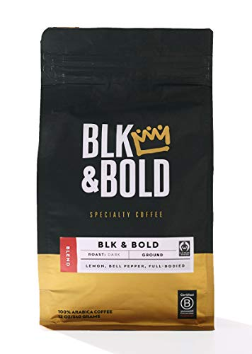BLK & Bold | BLK & Bold Coffee Blend | Fair Trade Certified | Dark Roast | Ground Coffee | 12 oz. bag
