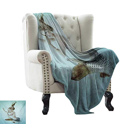 LsWOW Moving Blanket Mermaid,Floating Mermaid with Water Bubbles Underwater Mythology Artwork Print,Seafoam Beige Brown for Bed & Couch Sofa Easy Care 60'x70'