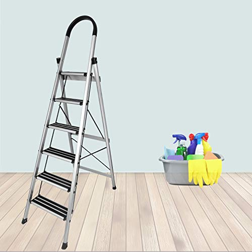 Plantex Platinum 6 Step Foldable Aluminium Ladder for Home Use/Wide Anti Skid Step Ladder (Anodize Coated-Gold)