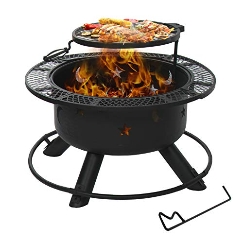 Aoxun 32'' Outdoor Wood Burning Fire Pit Backyard with Cooking Grill, BBQ Grill Large Firepit Bowl Round Steel Fireplace for Camping/Heating/Picnic with Fire Poker