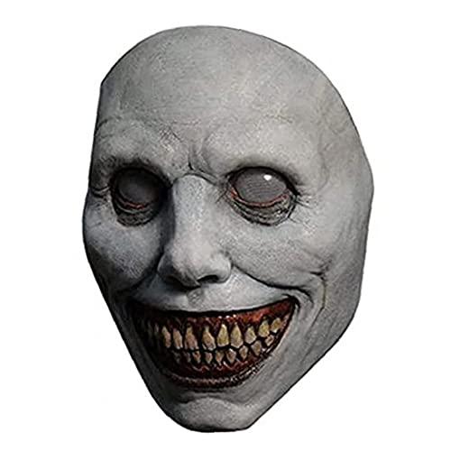 Máscara de Halloween para Adultos sonrientes de la Cara de Miedo Cubiertas de Ojos oculares Blancos Máscaras de Terror para el Traje de Halloween Props Party Cosplay