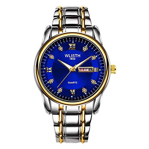 GDHJ 3 Estilos Hombres | Azul | Rojo | Amarillo | Moda Reloj Casual Movimiento de Cuarzo Relojes Retro para niños Reloj de Pulsera Luminoso con Calendario Doble Juventud Blue