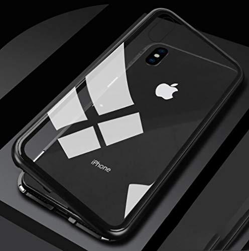 Capa magnética Sweau para iPhone X, capa dura de vidro temperado com moldura de metal e ímãs integrados Ultra Thin 2 em 1 Proteção 360 ° ...
