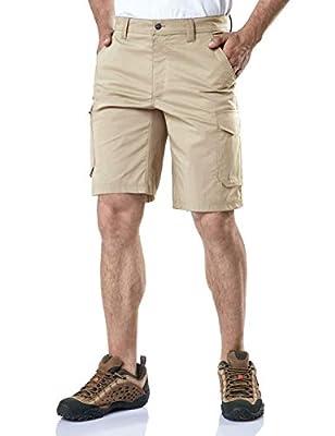 CQR Mens Hiking Tactical Shorts, Quick Dry Fishing Shorts, Lightweight Outdoor Rip-Stop EDC Assault Cargo Short, Urban Tactical Driflex(txs412) - Khaki, 34W x 10L