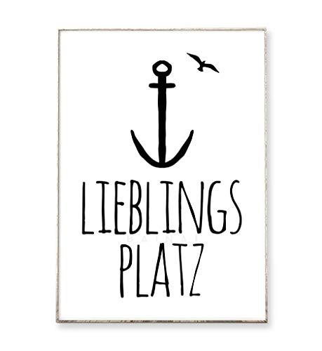 Kunstdruck Poster Bild LIEBLINGSPLATZ -ungerahmt- Typografie Dekoration Wohnzimmer Vogel Anker