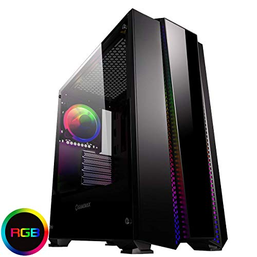 Game Max Phantom Mid-Tower RGB PC Gaming Case, ATX, Rainbow LED Strip, Full Tempered Glass Side Window, PCB Hub, Water Cooling Support, 1 x 120 mm Halo Dual-Ring Spectrum Fan Incluido Negro