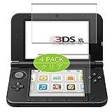 VacFun 4 Pezzi Pellicola Protettiva, Compatibile con Nintendo 3DS LL / 3DS XL (Non Vetro Temperato) Protezioni Schermo Cover Custodia New Version