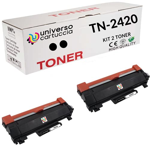 NEW Universocartuccia® 2 X TONER TN-2420 CON CHIP compatible for Brother HL-L2310D/L2350DN/L2370DN/L2375DW, DCP-L2510D/L2530DW/L2550DN,MFC-L2710DN/L2730DW/ L2750DW DA 3.000 COPIE