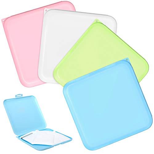 MoKo Mundschutz Aufbewahrungsbox, 4 Pack Mundschutzbox Wiederverwendbar Mundschut Etui Tragbare Staubdichte Feuchtigkeitsbeständige Mundgesichtsabdeckung Box Aufbewahrungsbehälter, Pink Blau Weiß Grün