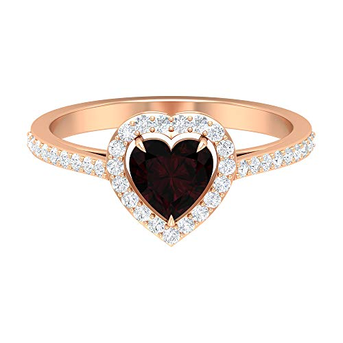 Anillo solitario de granate en forma de corazón de 6 mm, anillo de diamante HI-SI, anillo de compromiso de oro (calidad AAA), 14K Oro rosa, Size:EU 63