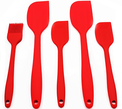 Anfimu [5-piece] Premium Baking Cake Tools Flexible Silicone Set with Hygienic Solid Coating - Heat Resistant Baking Spatulas & Brush - 100% Food Grade Silicone, Red