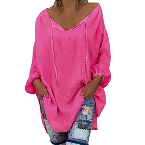 MRULIC Frauen Bluse Lose Pullover Plus Size Einfarbig Langarm V-Ausschnitt Streetwear Tops Shirt Damen Tunika(Pink,EU-48/CN-4XL)
