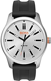 Hugo Boss Men's Black Dial Leather Band Watch - 1550043