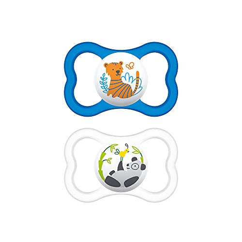 MAM Chupete Air S231 - Escudo con Orificios Extra Grandes Para Pieles Sensibles, con Tetina de Silicona Skinsofttm Ultrasuave, Para Bebés de 6+ Meses, Azul, con Caja Auto Esterilizadora, 2 Unidades