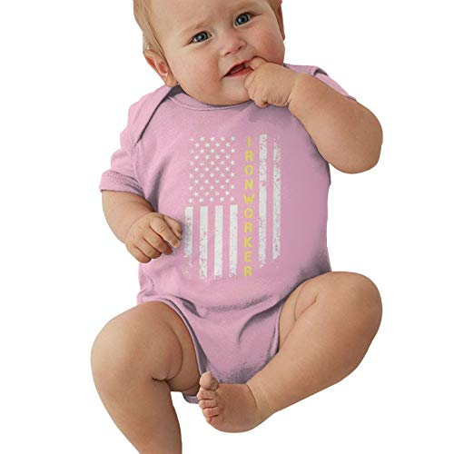 NSJR66CAP Ironworker America Flag Baby Onesie Outfits Bodysuit Romper Short Sleeve T-Shirt Pink