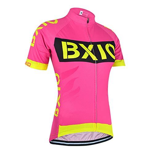 BXIO Maillot de Ciclismo, Camiseta de Ciclismo para Mujer con 3 Bolsillos Traseros elásticos con Banda Reflectante, Cremallera Completa y Tira Antideslizante para Ciclista (Rose Red(147), XL)