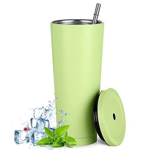 Aiboria Vaso de viaje fino de 750 ml, con tapa, aislamiento al vacío, doble pared de acero inoxidable 18/8 para café, té, bebidas (verde fruta)