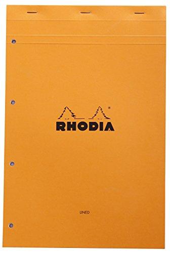 Rhodia 119600C notitieblok (DIN A4, 21 x 29,7 cm, microgeperforeerd, geperforeerd, gelinieerd met rand, 80 vellen) 1 stuk oranje