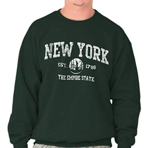 Vintage New York Statue of Liberty Souvenir Crewneck Sweatshirt Forest Green