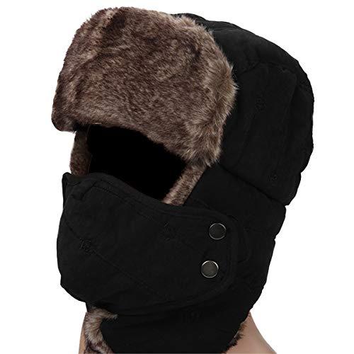 HunterBee Wintermütze mit Ohrenklappen Warme Trappermütze / jagdmütze Fliegermütze mit maske winddichte für Herren und Damen-schwarz
