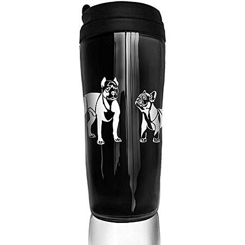 Like-like Lustige amerikanische französische Bulldoggen-Kurven-Kaffeetasse des Pitbull-Terrier, Flaschen-Reise-Becher