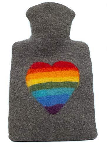 feelz - Wärmflasche gefilzt Regenbogen Herz Filz Wolle (Merino) Wärmflaschenbezug - Handarbeit Fairtrade
