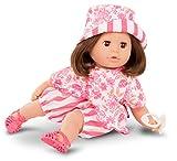 Götz 2116066 Cosy Aquini Stripe Vibes Badepuppe - Puppe mit braunen Haaren, braunen Schlafaugen in 7-teiligen Set - 33 cm Mädchen-Babypuppe
