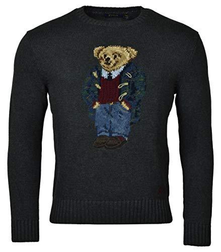 mens polo sweaters Polo Ralph Lauren Men's Toggle Coat Bear Cotton Crewneck Sweater