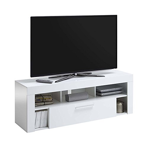 FMD Möbel Vibio 1 Up Multimedia Lowboard, Holz, hochglanz weiß, 150 x 41.5 x 53 cm