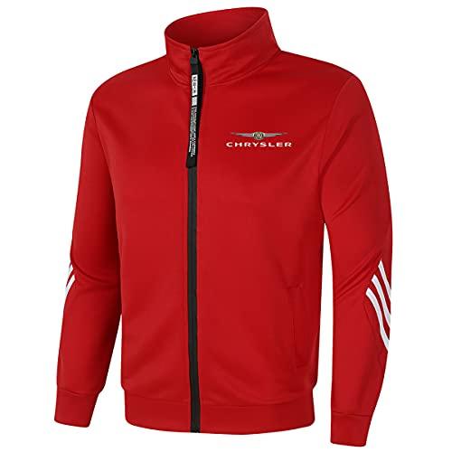 Woakzhe - Giacca con colletto alto Chrysl_er per uomo/donna tuta casual con zip cardigan abbigliamento sportivo (rosso, L)