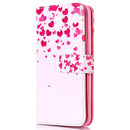 Coque Galaxy Note 5 Etui,Surakey Samsung Galaxy Note 5 Étui Housse en PU Cuir à Rabat Portefeuille Coque, Rétro Motif Flip Case Wallet Coque Silicone TPU Case, Coeur d'amour rose