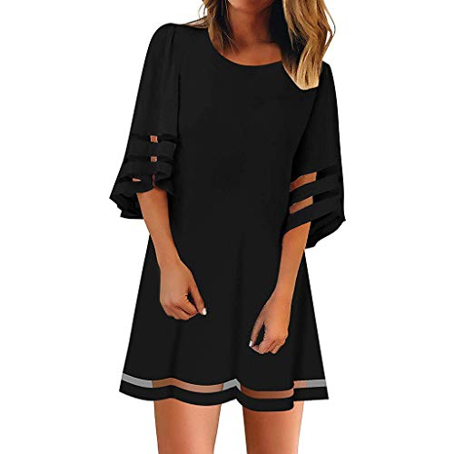 VEMOW Faldas Mujer Blusa con Panel de Malla en el Cuello O de Las Mujeres 3/4 Vestido de Camisa Suelta con Manga de Campana(A Black,L)