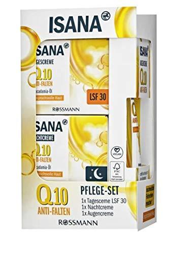 ISANA Q10 Anti-Falten Pflegeset 1 Set bestehend aus Anti-Falten Tagescreme 50 ml, Anti-Falten Nachtcreme 50 ml & Anti-Falten Augencreme 15 ml, vegan