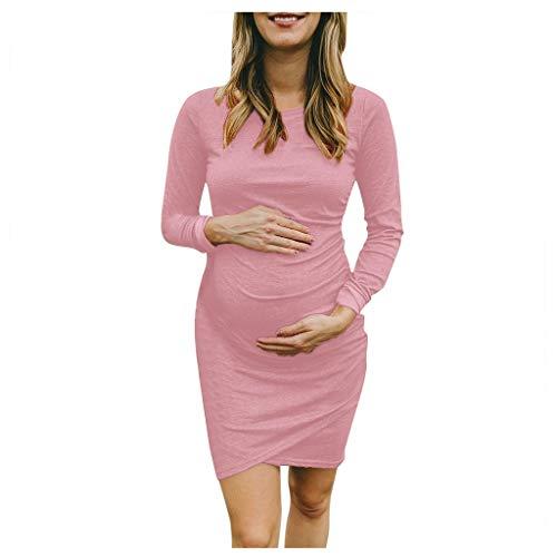 Akaide Damenkleid für Schwangere mit langen Ärmeln, Rundhalsausschnitt, einfarbig, unregelmäßig, sexy, mittellanger Rock Gr. X-Large, rose