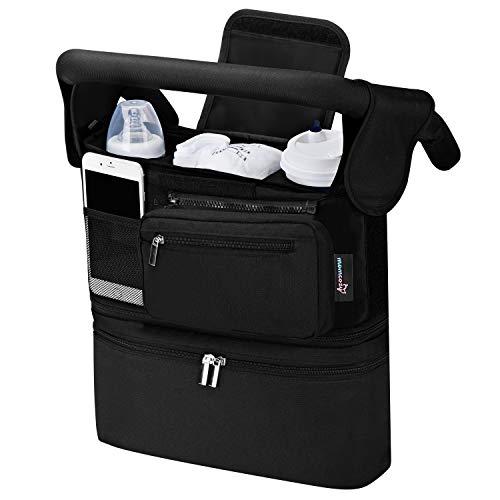 Kinderwagen Organizer Universal mit Isolierten Getränkehalter/Becherhalter, Momcozy Buggy Kinderwagentasche Baby Zubehör mit Reißverschlusstasche, Schultergurt und Großem Stauraum für Windeln&Handys