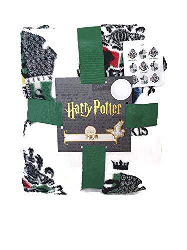 Harry Potter Dei Maghi Mondo Copriletto Tutti Casa Serpeverde Tassorosso Gryffindor Ravenclaw 120 Cm X 150 CM - Verde - Serpeverde